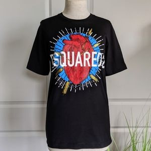 DSQUARED2 Heart Arrows Graphics S/S Tee Black M 🆕